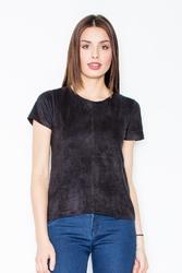 Czarna prosta zamszowa bluzka z przeszyciami