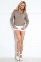 Swetrowa bluzka z wycięciem na plecach - mocca