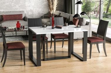 Nowoczesny rozkładany stół borys na metalowych nogach 130-330 x 80 cm biały połysk
