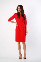 Czerwona klasyczna sukienka z zakładkami