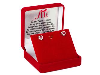 Srebrne kolczyki pr. 925 rubinowe serduszka z cyrkoniami DEDYKACJA - Srebrne kolczyki pr. 925 rubinowe serduszka z cyrkoniami