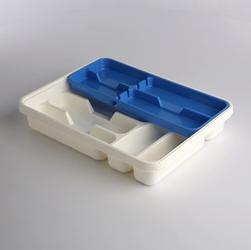 Wkład na sztućce przegródki do szuflady  organizer kuchenny tontarelli 39,5 cm, biało-niebieski