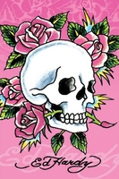 Pink skull and roses - plakat