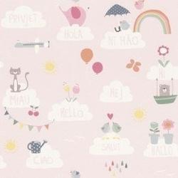 Tapeta chmurki i zwierzątka 249453 bambino pudrowy róż