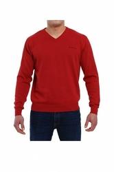 Pierre cardin v-napis bordowy sweter