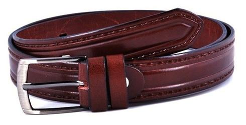 Brązowy skórzany pasek męski do spodni 2,9cm