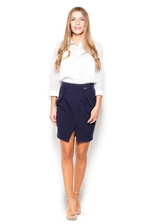 Granatowa mini spódnica ołówkowa z kieszeniami