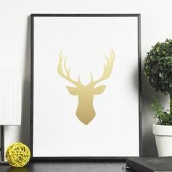 Złoty jeleń - plakat ze złotym nadrukiem , wymiary - 20cm x 30cm, kolor ramki - biały, kolor nadruku - złoty
