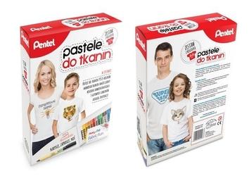 Pentel pastele do tkanin z koszulką