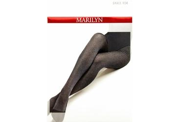 Grace R04 MARILYN szare rajstopy w romby i czerwone kropki
