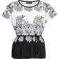 Shirt quot;nietoperzquot; z nadrukiem bonprix czarno-biały w kwiaty