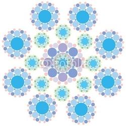 Naklejka samoprzylepna turkusowy niebieski i fioletowy kwiat płatka śniegu