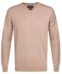 Elegancki beżowy sweter prufuomo z delikatnej wełny merynosów xxl