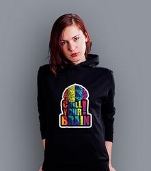 Chill your brain damska bluza z kapturem czarna l
