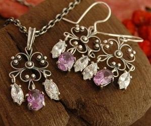 Ranga - srebrny z ametystem i kryształkami