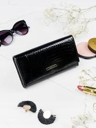 Luksusowy skórzany portfel damski skóra naturalna - czarny
