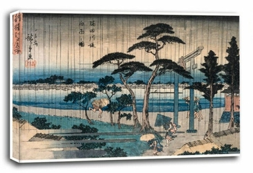 Picture of light rain on the embankment of the sumida river, hiroshige  - obraz na płótnie