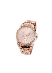 Zegarek na metalowej bransoletce, zdobiony kryształami swarovskiego® bonprix kolor czerwonego złota
