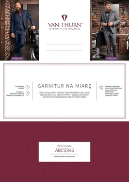 Karta podarunkowa na garnitur na miarę van thorn e-voucher pdf