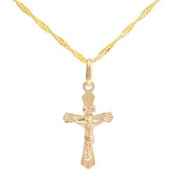 Złoty krzyżyk z jezusem próba 585 prezent