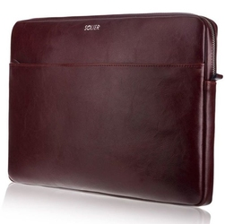 Skórzany pokrowiec etui na laptopa 15 cali solier sa24a burgundowy - burgundowy  15 cali