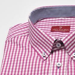 Koszula męska van thorn w różową kratę z kołnierzykiem na guziki - slim fit 42