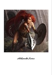 Ruda wojowniczka - plakat premium wymiar do wyboru: 29,7x42 cm