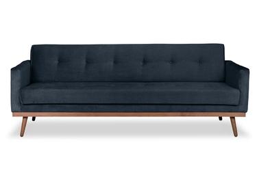 Sofa klematisar z funkcją spania welurowa 3-osobowa  deluxe - welur łatwozmywalny charcoal