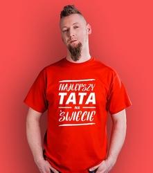 Najlepszy tata na świecie t-shirt męski czerwony xl