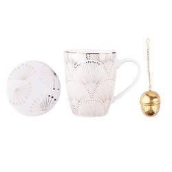 Kubek do kawy i herbaty porcelanowy z podstawką i zaparzaczem altom design modern nature, dekoracja art deco 300 ml złoty opakowanie prezentowe