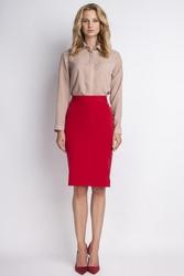Czerwona spódnica ołówkowa do kolan