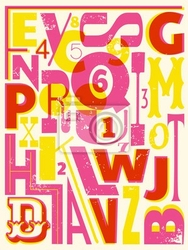 Plakat retro litery i cyfry