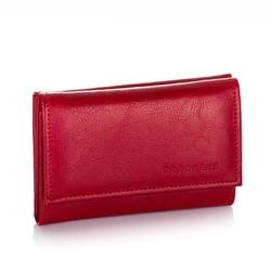 Skórzany portfel damski brodrene a-06 czerwony - czerwony