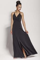 Czarna elegancka długa sukienka wiązana na szyi