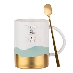 Kubek porcelanowy na prezent  do kawy i herbaty z łyżeczką altom design sentencje gold  green 350 ml opakowanie prezentowe