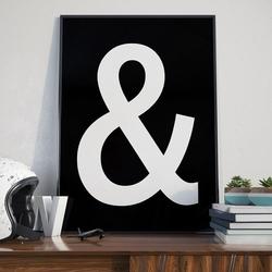 Symbol quot;amp;quot; and - plakat typograficzny , wymiary - 70cm x 100cm, ramka - czarna