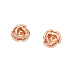 Pozłacane różowym złotem srebrne kolczyki róże