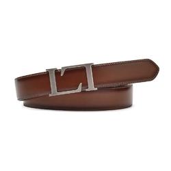 Elegancki brązowy skórzany pasek męski do spodni 100