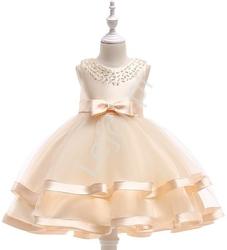 Sukienka dla dziewczynki na wesele w kolorze szampańskim