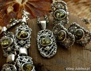 Lorena - srebrny komplet z bursztyny i perły