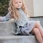 Szara tunika sweterkowa dla dziewczynki z tiulową spódniczką