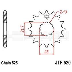Zębatka przednia jt f520-16, 16z, rozmiar 525 2200063 yamaha tdm 850, suzuki dl 1000