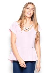 Różowa bluzka z baskinką