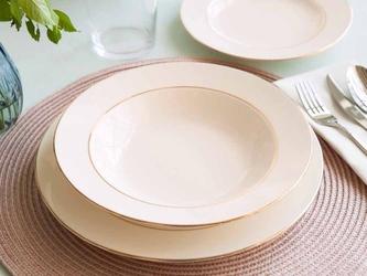 Talerz do zupy głęboki porcelana mariapaula nova ecru złota linia 23 cm