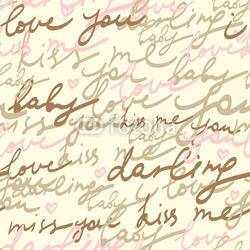 Obraz na płótnie canvas dwuczęściowy dyptyk Romantyczny list - bezszwowe wektor wzór