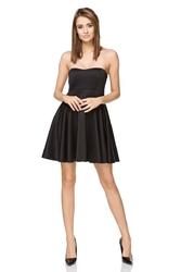 Czarna wieczorowa gorsetowa czarna sukienka z szerokim dołem