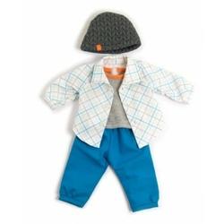 Ubranko dla lalki 40 cm niebieskie spodenki koszula i czapeczka