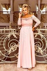 Różowo brzoskwiniowa sukienka wieczorowa z dekoltem carmen - samanta