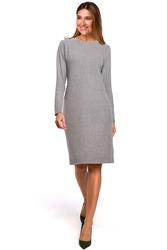 Dzianinowa szara prosta sukienka przed kolano