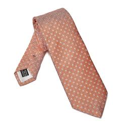 Elegancki pomarańczowy krawat van thorn w błękitne kropki